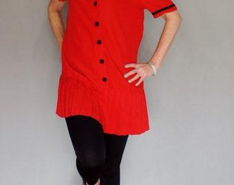 80's Red Mini Grunge 20's Sailor Dress
