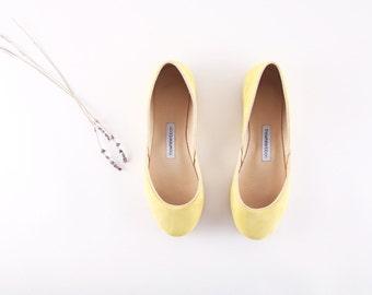 handmade leather yellow ballet flats | lemon...ready to ship...LAST PAIR eu 39/ us 8