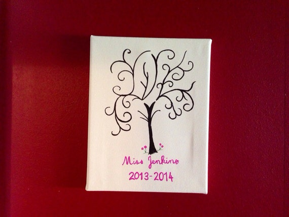 Teacher appreciation student finger print tree alternative fingerprint stamp tree