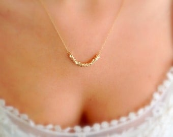 Gold nugget necklace . Dainty beads necklace . Delicate gold necklace . Tiny gold Necklace . Gold everyday necklace .