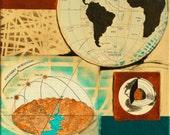 Horizon, mixed-media/acrylic on canvas, map art