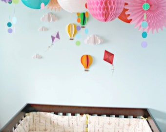 Rainbow Party Nursery Decor Package ... Pompoms . Garlands . Lanterns . Medallions ....  wedding // birthday // party decoration