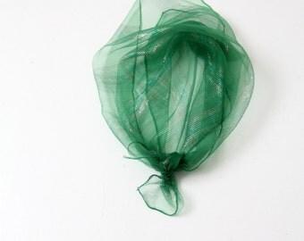 vintage green scarf,  metallic striped head scarf