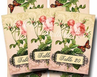 Wedding Table Numbers 11 -20 TRUE LOVE Instant Download 10 Romantic Tented Cards Pink Rose Butterfly GalleryCat CS192b