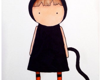 Illustration Girl with Cat Costume