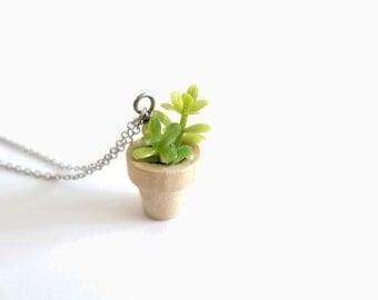 Faux Succulent Miniature Pendant on Silver Chain