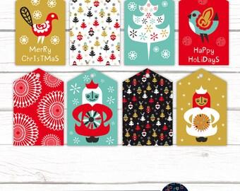 Printable Christmas DIY Gift Tags Labels Scandinavian Holiday