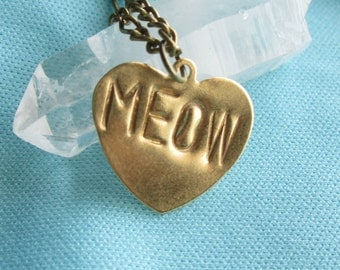 6 MM Stamped Brass Heart Necklace