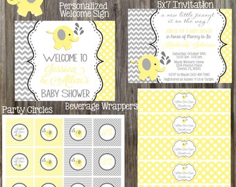 YELLOW & GRAY ELEPHANT Baby Shower Package - Printable