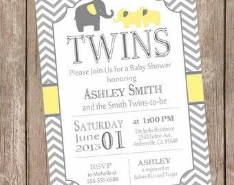 Twins Elephant Baby Shower Invitation - Gender Neutral  - Yellow and Gray, Baby Shower Invitation, twin baby shower invitation, yte1