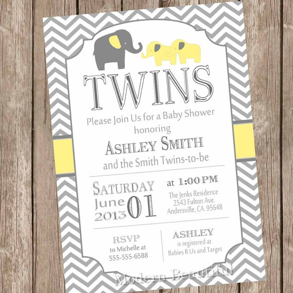 twins elephant baby shower invitation gender neutral, Baby shower invitations