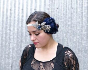 1920s Headpiece Blue Headpiece 1920s Headband, Wedding Accessories, Gatsby Costume Accessories, Flapper Costume, Hair Feather Fascinator