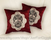 Pretty Skull throw Pillow Set 14x14 inch decorative pillows (set of 2)- in blood red burgundy black stictches on upcycled ivory lace damask
