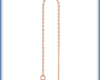 14Kt Rose Gold Filled Ear Threader Cable Chain W/Ring - 1pr (6484) 10% discounted Fancy Earrings