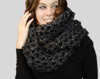 Sparkle Grey Oversized Infinity Scarf  For Men or Women, Winter Accessories