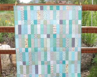 Modern Turquoise & Gray Low Volume Baby Quilt