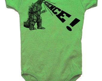 baby infant onesie godzilla dinosaur science- American Apparel grass gree- 3-18 months available- Worldwide shipping