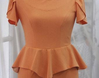 Orange Peplum Tulip sleeve Dress - Custom Sizing Available - ORTV48