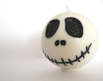 Jack Skellington's candle / OOAK Christmas or Halloween candle / Hand carved and painted / You choose the scent / Unisex geek gift idea
