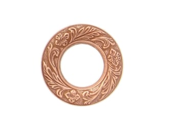 Copper Rose Gold Plated Brass Stamping Etched Floral Leaf Porthole Circle Frame Setting Qty 1 Heirloom Quality Jewelry Making Made in USA