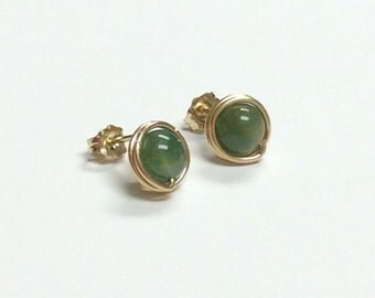 Green fancy Jasper gemstone post earrings - 9mm Gold-filled handmade stud earrings -Healing stone - Free shipping to CANADA and USA