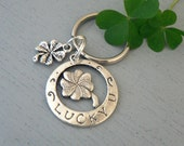 Lucky 4 leaf Clover KeyChain  Silver Charm Key Chain St Paticks Day Keyring
