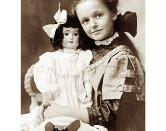 Girl with Doll Greeting Card - Repro from Vintage Victorian Photo Postcard