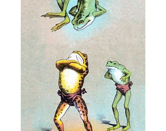Frog Greeting Card - Acrobats Perform Flips - Circus Performers