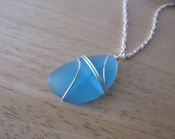 Long Sea Glass Necklace Aqua Blue Man Made Turquoise Beach Glass Pendant Recycled Jewelry