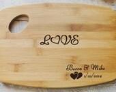 Personalized Wood burned Cutting Board  Love Design