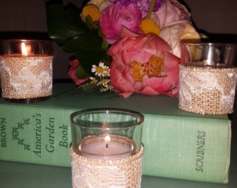 Burlap and Lace Wrapped Votives - Candle Holders - Set of 3