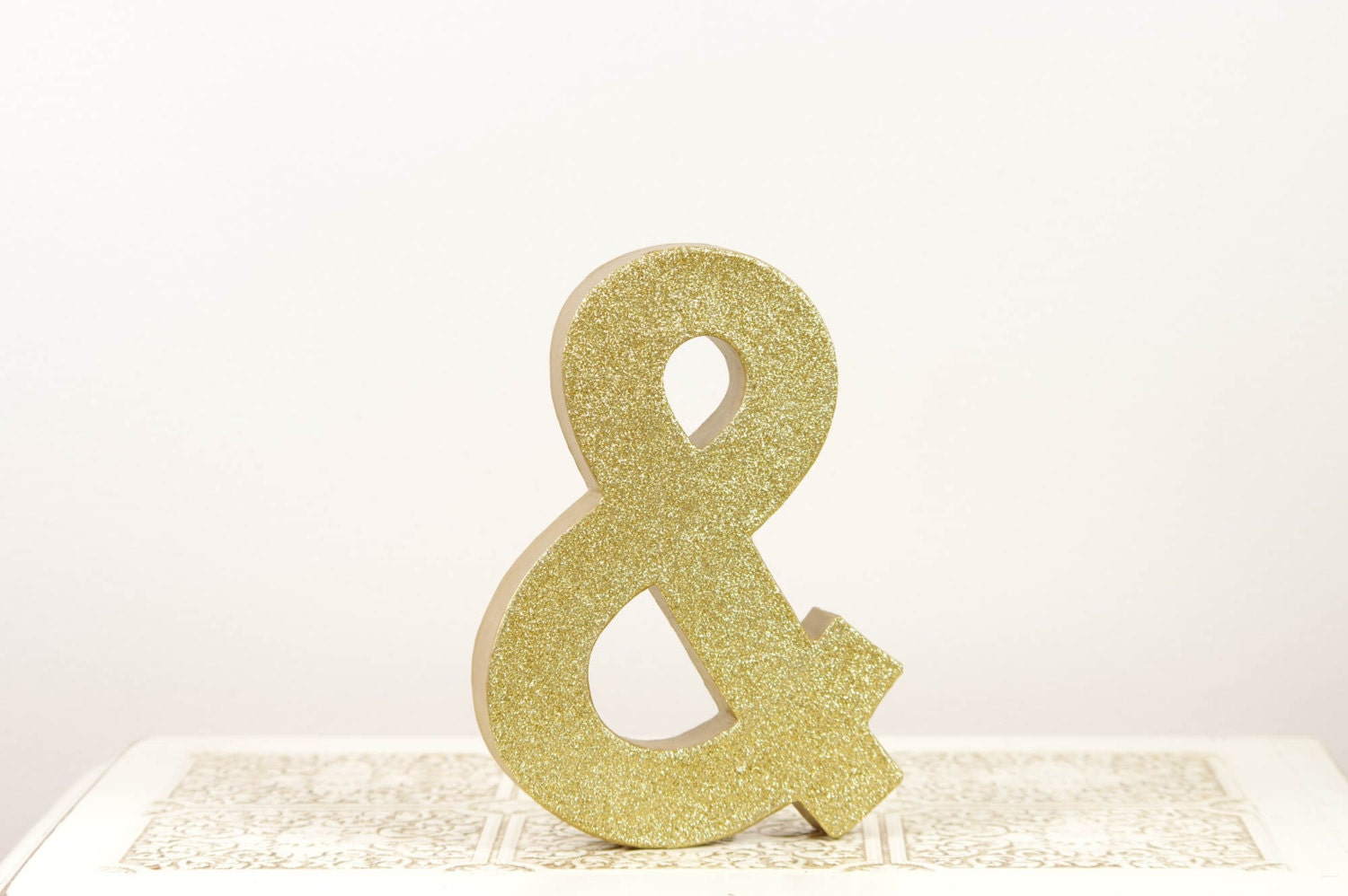Gold glitter ampersand sign wedding decor photography prop for Ampersand decoration etsy