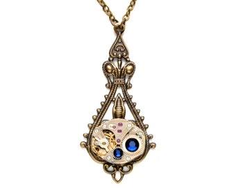 SEPTEMBER Steampunk Necklace, SAPPHIRE BLUE Steampunk Vintage Watch Necklace, Antique Brass September Steampunk Jewelry VictorianCuriosities