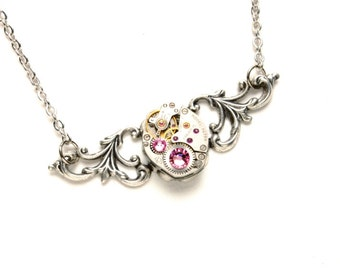 OCTOBER Steampunk Necklace, ROSE PINK Steampunk Watch Necklace Light Pink Silver Wedding Victorian Steampunk Jewelry Victorian Curiosities