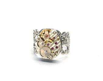 FANCY HERRINGBONE Steampunk Watch Ring Steampunk Ring Steam Punk Stunning Silver for Women Men Steampunk Jewelry by Victorian Curiosities