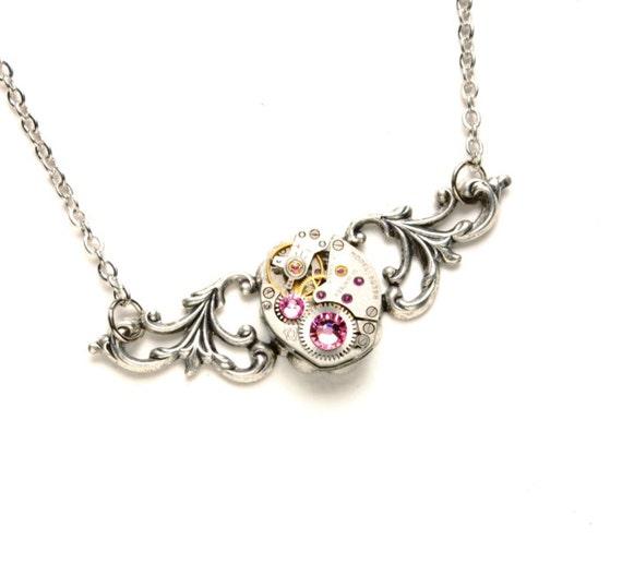 OCTOBER Steampunk Necklace, ROSE PINK Steampunk Watch Necklace Light Pink Silver Wedding Victorian Steampunk Jewelry Victorian Curiosities
