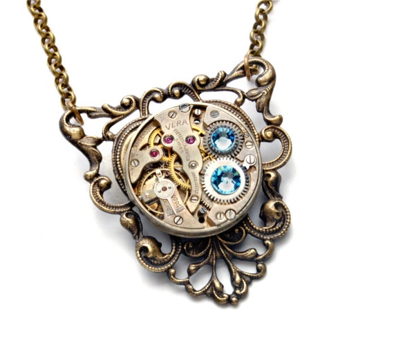 Steampunk Necklace AQUAMARINE MARCH Steampunk Jewelry Vintage Necklace Aqua Blue Antique Brass Steam Punk Jewelry by Victorian Curiosities