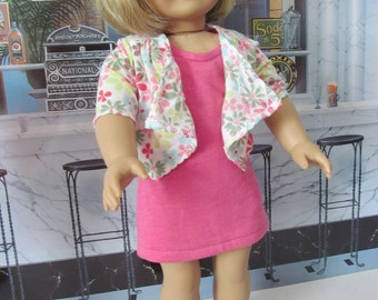 Tank  Dress, Cardigan Jacket, 18 inch Doll Clothes