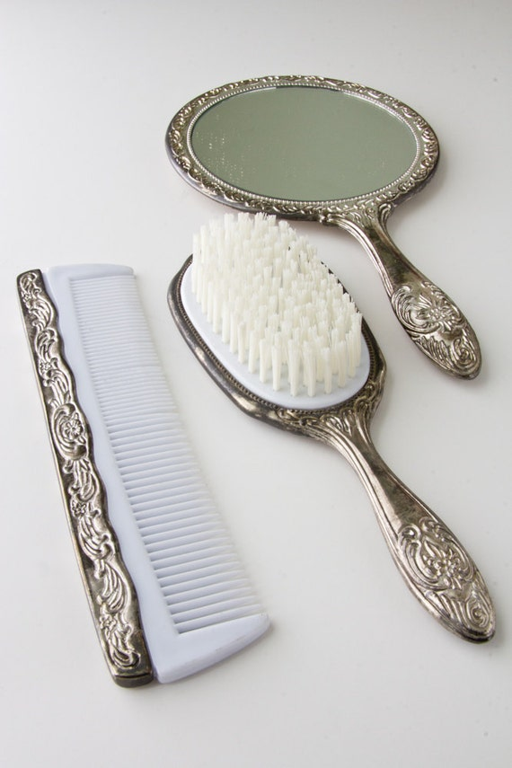 vintage silver vanity set with comb brush and mirror 87983