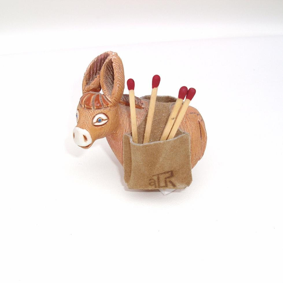 Vintage match holder toothpick holder donkey figurine match - Toothpick holder for purse ...