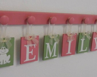 Frog Princess Nursery Decor, Name Block Wall Sign Personalized Ribbon Letters for Princess EMILY, 7 Pegs Pink Green, Froggy Stuff, Baby Gift