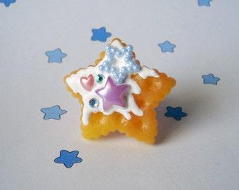 Fairy Kei Pastel Pearl Candies Star Biscuit Cookie Filigree Ring