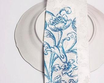 Royal blue  floral wedding  tie. Mens tie with blue flowers. Delft china look. Rustic tie for beach or cottage wedding exlusive by TieStory.