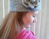 Crochet Headband-Girls Ear Warmer-Teen Head Wrap-Flower Headband-Button Closure-More Colors