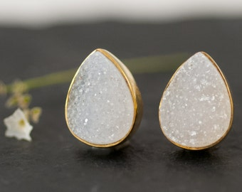 Druzy Stud Earrings - April Birthstone Studs - Gemstone Studs - Tear Drop Studs - Gold Stud Earrings - Post Earrings