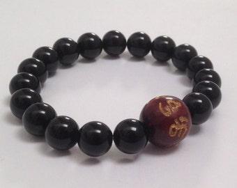 Obsidian Men Mala Bracelet, Mens Inspirational Jewelry Buddhist Worry Beads, Wellness Spiritual Gift for Yogi Son, Om Mantra Wood Bracelet