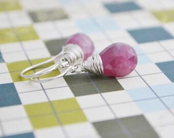Handmade Pink Sapphire Earrings Sterling Silver, September Birthstone, Gift Under 40