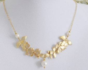 Gold Wild Orchid Necklace, White Pearl Freshwter Pearl, 14K Gold Filled Chain, Wedding Jewelry