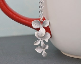 Cascading Silver Orchid Flower Pendant, Sterling Silver Chain, Silver Tropical Necklace, Gift for Her