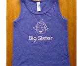 Big Sister Shirt - Girls Tank Top Sleeveless Big Sister Cupcake Shirt - Sizes 2, 4, 6, 8, 10, 12 - Purple